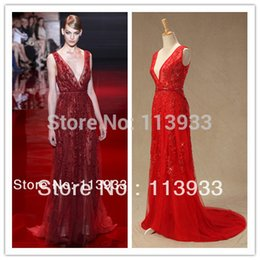 Wholesale Elie Saab Actual - 2014 Actual Real Sample New Arrival Elie Saab Sexy Red Lace V Neck Beaded With Crystal Long Evening Prom Dress Gowns Custom Made