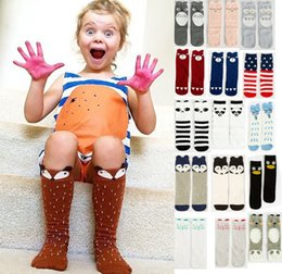 Wholesale Panda Socks - 10pairs 2017 Kawaii Fox Socks Leg Warmers Baby Girls & Boys Knee High Sock Cartoon Animal Elephant Totoro Panda Striped Kids Knee Pad Sock