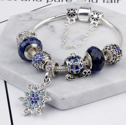 Wholesale Snowflakes Beads - s925 Silver Snowflake Bracelets Women's Fashion Ocean Blue Cats Eye Beads Bracelets 2017 New Fashion Bangles Charm Bracelets