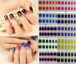 Wholesale Cute Wrapping - FREE SHIPPING ! New 20pcs Gradient Color Nail Stickers Classic Cute Art Stickers DIY Decorations Foils Wraps Wholesale Nail Tools