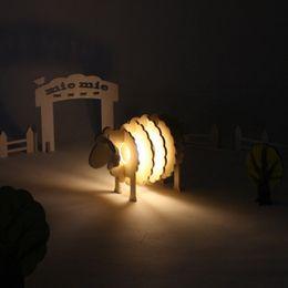 Wholesale Led Sheep Night Light - Cute Wooden Blocks Sheep Night Lights DIY Assembled Toy New Design Decor Bedroom Reading room Night Light