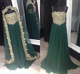 Wholesale Crystal Moroccan Dress - Emerald Green 2016 Muslim Evening Dresses for Women Gold Appliques Crystals Moroccan Kaftan Dresses Turkish Islamic Prom Gowns Plus Size