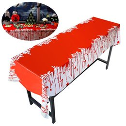 Wholesale Carnival Candy - Halloween Table Cover Carnival Holiday Simulation Horror Bloody Wallpapers Tricky Scary Toy Party Decorations 274 * 137 CM