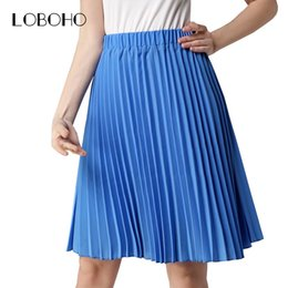 Wholesale Chiffon Skirt Wholesale - Wholesale- High Waist Pleated Skirt Summer 2017 Fashion Vintage Chiffon Skirt Women Knee Length Elastic Slim Midi Skirts Womens Clothing