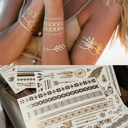 Wholesale Neck Wrist Ankle Cuffs - 104 designs gold silver metallic tattoos necklace bracelet flash jewelry tattoos Sparkle shine temporary tattoos chic chains cuff bands tat
