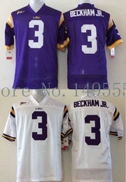 Wholesale Authentic College Jerseys - Factory Outlet- Free Shipping LSU Tigers #3 Odell Beckham JR College Football Jerseys NCAA Authentic Double Stitched Logos Top Quality