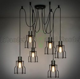Wholesale Pendant Light Vintage Bulb Diy - 6 Heads 10 Heads Vintage Industrial Ajustable Huge DIY Ceiling Lamp Light Pendant Lighting Bulb LLWA036