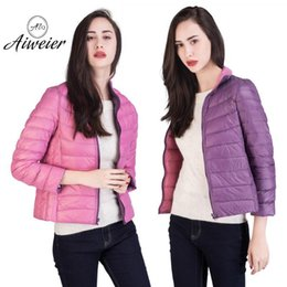 Wholesale Ladies Feather Down Jackets - [Aiweier]Ultra Light Down Womens Nylon Jackets Two Sides Wear 2017 Winter European Winter Down Coat For Ladies Parkas AL2104
