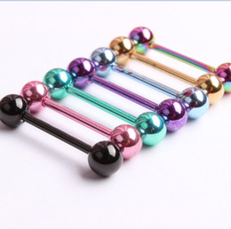 Wholesale tongue piercing rings jewelry - Piercing Tongue Colors Piercing Body Jewelry Anodized Titanium Tongue Rings 100PCS LOT Free shipping