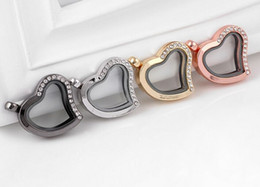 Wholesale Half Rhinestone Slide Charm - Wholesale 10PCS lot Heart Magnetic Glass Living Floating Charms Locket Pendant with Half Rhinestones Fashion Jewelrys