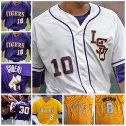 Wholesale Alex Tiger - LSU Tigers College Baseball CWS Purple Gold White DJ LeMahieu Alex Bregman Nola Gausman All Stitched Any Name & ANY Number Baseball Jerseys