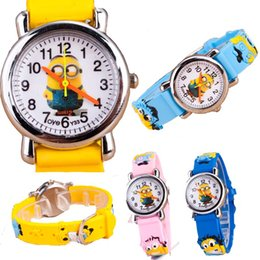 Wholesale Children Analog Wrist Watch - New Arrival Kids 3D Eye Despicable Me minion Cartoon watch   Precious Milk Dad Cute Children clock   kid Quartz Wrist Watches Children