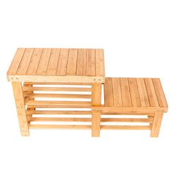 Wholesale Wood Shoes Storage - Portable High-low Shoes Stool with Storage Wood Color Creative Bamboo Shoe Rack