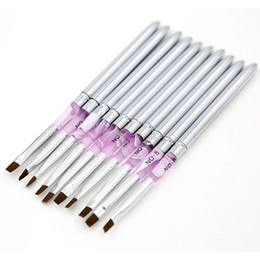 Wholesale Uv Gel Acrylics - Nail Brush 10 pcs lot Metal Acrylic Nail Art UV Gel Carving Pen Brush Gel NO.2 4 6 8 10