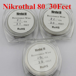 Wholesale 22 Guage Wire - Nikrothal 80 Resistance Wire Nichrome 80 Ni80 Heating Wire 30feet 10m 20 22 24 26 28 30 32ga AWG Guage for RDA atomizers