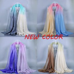 Wholesale Muslim Holidays - 20 COLOR Ombre printe shade color spring cotton viscose shawls long plain voile popular head muslim scarves scarf 10pcs lot