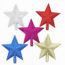 Wholesale Christmas Tree Star Top - 5 Color Christmas Tree Top Star Xmas Plastic Pentagram Decoration Party Decorate Ornament Santa Trees Accessories Five-pointed Stars Topper