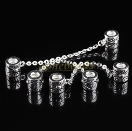 Wholesale Charm Bracelet Beads Bulk - Bulk Top Quality 100 pcs Fashion Jewelry 925 Silver Safety Chain Stopper Screw Hole Beads Charms Fit European Bracelet Dropshipping