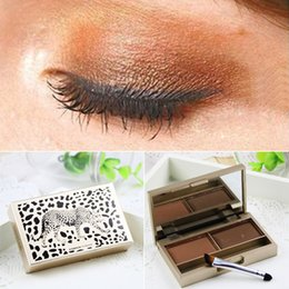 Wholesale Eye Shadow Palette Leopard - Wholesale-2016 New women 2 colors Eyebrow powder colorful makeup eye shadow Palette super make up set Leopard print eyeshadow