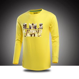 Wholesale Heat James - FREE SHIPPING Wholesale BASKETBALL KING JAMES MIAMI HEAT Printed T-Shirts Spring Summer Fall male long sleeve shirt 6 colors 100% cotton
