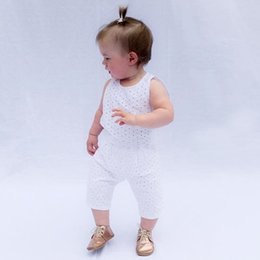 Wholesale Two Piece Tank Tops - Summer Newborn kids cotton outfits baby girls boys lace embroidery hollow two piece toddler backless tank top+pants 2pcs clothing sets R1413