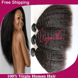 "Wholesale Malaysian Hair Online - Grade 6A Virgin Malaysian Kinky Straight Hair Weft 3 Pcs Lot Hair Weaves Best Afro Hair Products Seller Online 8""-30"""
