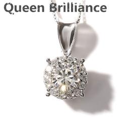 990da789b240 Reina Brilliance Sólido 14 K 585 Oro blanco 1 Ct F Color Moissanite Collar  con diamantes colgantes con detalles de diamantes reales para mujeres  q171026