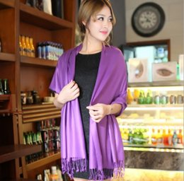 Wholesale Ladies Neck Scarves Wholesale - Designer Ladies Plain Cashmere Imitation Tassel Neck Scarf Womens Long Scarves Clothing Big Plain Pashmina Shawl Neck Warmer For Gift Sale