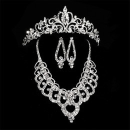 Wholesale cheap indian bridal jewelry sets - Bridal Diamond Crowns Accessories Tiaras Hair Necklace Earrings Accessories Wedding Jewelry Sets Cheap Price Fashion Style Bride