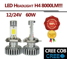 Wholesale Pair Hi Lo Beam Lamp H4 W Set LM CREE COB LED Car Auto Headlight K White Fog Headlight Just Plug Play