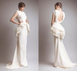 Wholesale Handmade Vintage Model - 2015 Backless Mermaid Evening Dresses With Peplum With Ruffles Neck Handmade Flowers Formal Pageant Gown robe de soiree LV474