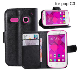 Wholesale Plastic S Clips - For Alcatel C3 C5 C7 C9 One Touch Idol X Idol S 2 3 PU Leather Case with Stand Wallet Stand Holder Case