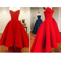Wholesale Sweetheart Two Piece Dresses - Long Red Ball Gown Evening Dress 2015 Real Sample Sweetheart Satin Formal Evening Gowns Short Front Long Back Prom Evening Dress