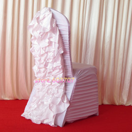 Wholesale Satin Flower For Chair - White Ruffled Spandex Chair Cover With Satin Crush Flower In The Back 100PCS For Free Shipping