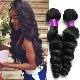 Wholesale Peruvian Loose Wave Hair - Peruvian Virgin Hair Bundles 4Pcs lot 100g pcs 6A Unprocessed Human Hair Weaves Peruvian Loose Wave Virgin Hair Wefts Natural Black