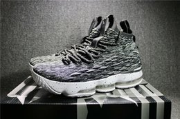 Wholesale Basket Running - 2018 Top Quality Real Zoom LeBron 15 Ashes Mans Basketball Shoes Space LBJ Jams Running Sneakers Come With Original Box 897648-002
