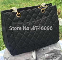 Wholesale Celebrity Bags Genuine Leather - Wholesale-Luxury Brand Designer Caviar Leather Shopper Women Genuine Leather Tote GST Handbags Celebrity Quilted Shoulder Bags Bolsas
