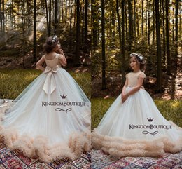 Wholesale Luxury Wedding Dress For Girls - Luxury New Arrival 2018 Girl's Pageant Dresses Ball Gown Tiered Lovely Flower Girl Dresses for Wedding With Bow Knot Sashes Party Dress