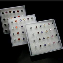 Wholesale Pair Crystal Stud Earrings - 1 Pack( 12 pairs) multicolored Crystal Zircon Stud Earring Silver color-6 Claws