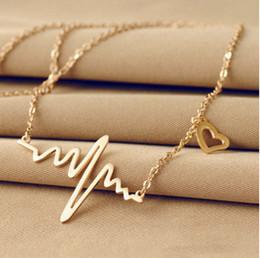 Ожерелье шарма женщин онлайн-Новый ЭКГ сердце бить очарование ожерелье сердцебиение ритм с висячие сердца женские ювелирные изделия 2 цвета выбрать