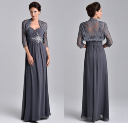 Wholesale Grey Chiffon Sleeve Dress - 2017 Stunning Beaded Chiffon A Line Evening Dresses Floor Length With Lace Jacket Grey Mother Of The Bride Groom Dresses UM5508