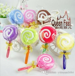 Wholesale Candy Towel Favors - 2015 New Fashion Lollipops candy cake towel 100% cotton towel Wedding birthday Christmas gift wedding favors baby shower favors gifts