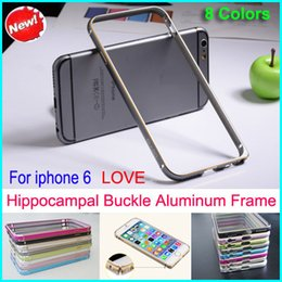 Wholesale Iphone Ultrathin Metal Bumper - 8 colors Hippocampal buckle Ultrathin Metal Bumper Case Frame Protector Cover No Screw for iphone 6 with retail packing