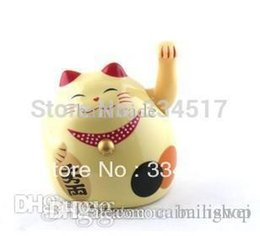 Wholesale Lucky Cat Waving - Wholesale-Trumpet 5-inch plastic fortune cat Lucky cat waving cat Free shipping