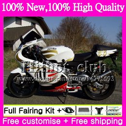 Wholesale 125 Fairing - Body For Aprilia RS4 RS125 99 00 01 02 03 04 05 RS-125 4HT22 RSV125 R RS 125 1999 2000 2001 2002 2003 2005 Motorcycle Fairing Golden white