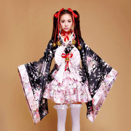 Wholesale School Girl Black Costumes - Wholesale-Japanese Lolita Kimono School Girls Angelic Pretty Lolita Dress Costume Sakura Cosplay Anime Outfit 4 Pieces Fancy Maid Kimonos