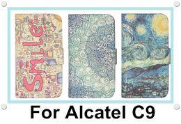 Wholesale Alcatel Mobiles Phones - For Alcatel One Touch Pop C9 Mobile Phone Wallet Flip Leather Case Cover Colorfull Painted OT7040D 7047 7047D