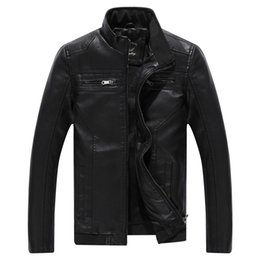 Wholesale Mens Silver Leather Jacket - Fall-Hot Mens leather jacket motorcycle clothing casual jacket windproof warm coat Free Shipping
