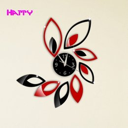 Wholesale Black Red Wall Clocks - Free Shipping new Era Home decoration!black & red Leaves mirror wall clock modern design,3d wall watch living room wall watch