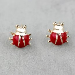 Wholesale Cheap Girls Studs - 1cm red ladybug stud earrings set cheap price fashion jewelry for girls women korean style jewellery